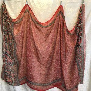 Vintage Large Shawl Wrap Scarf Geometric tribal